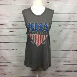 [Kiss Band] American Flag Graphic Muscle Tank